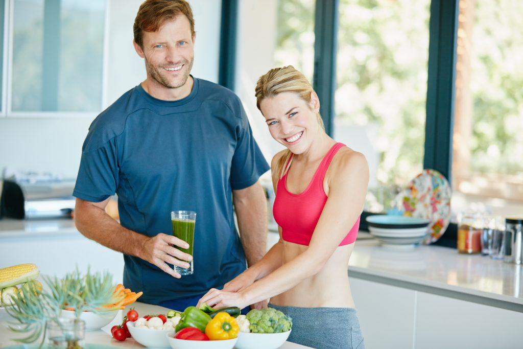 Cuple preparing a nutritious meal together at home